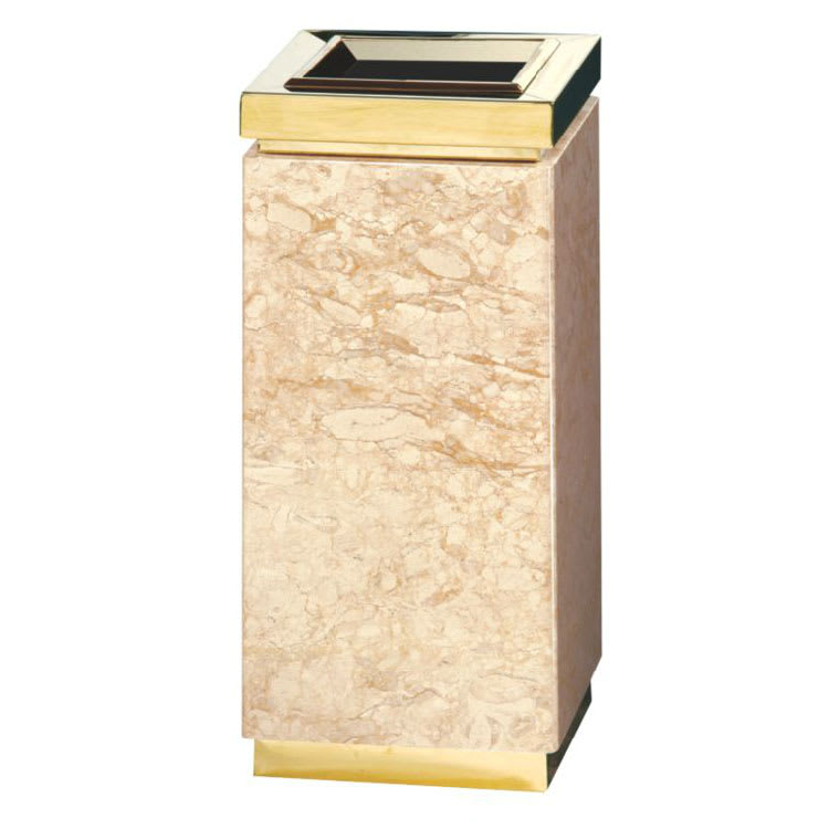 Rubbermaid FGDM12TGTM 5-gal Trash Receptacle - Galvanized Liner, Golden Travertine/Brass Stainless