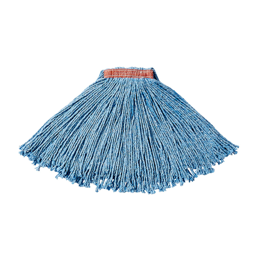 "Rubbermaid FGF51600BL00 16 oz Premium Mop Head - 1"" Headband, 4 Ply Cotton/Rayon/Synthetic, Blue"