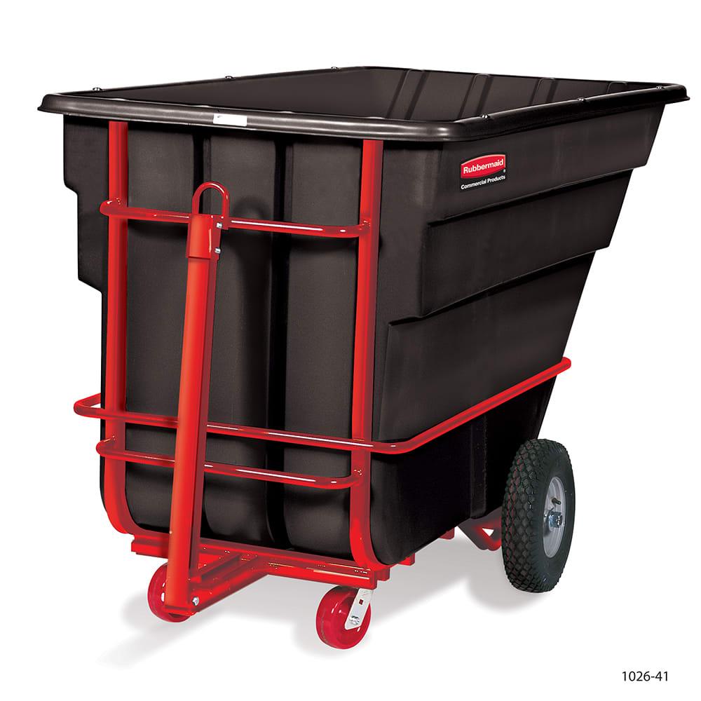 Rubbermaid FG102641 BLA 1.5-cu yd Trash Cart w/ 2100-lb Capacity, Black