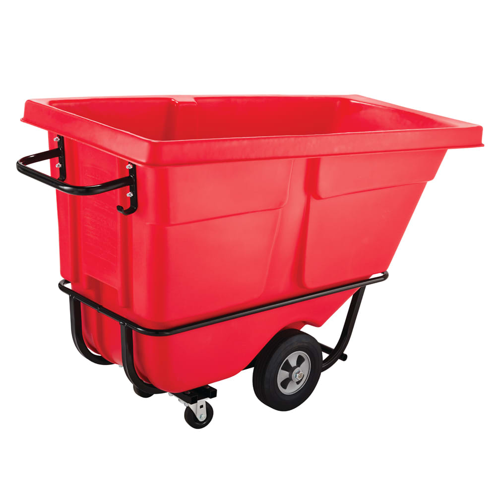 Rubbermaid FG131500RED 1 cu yd Trash Cart w/ 1250 lb Capacity, Red