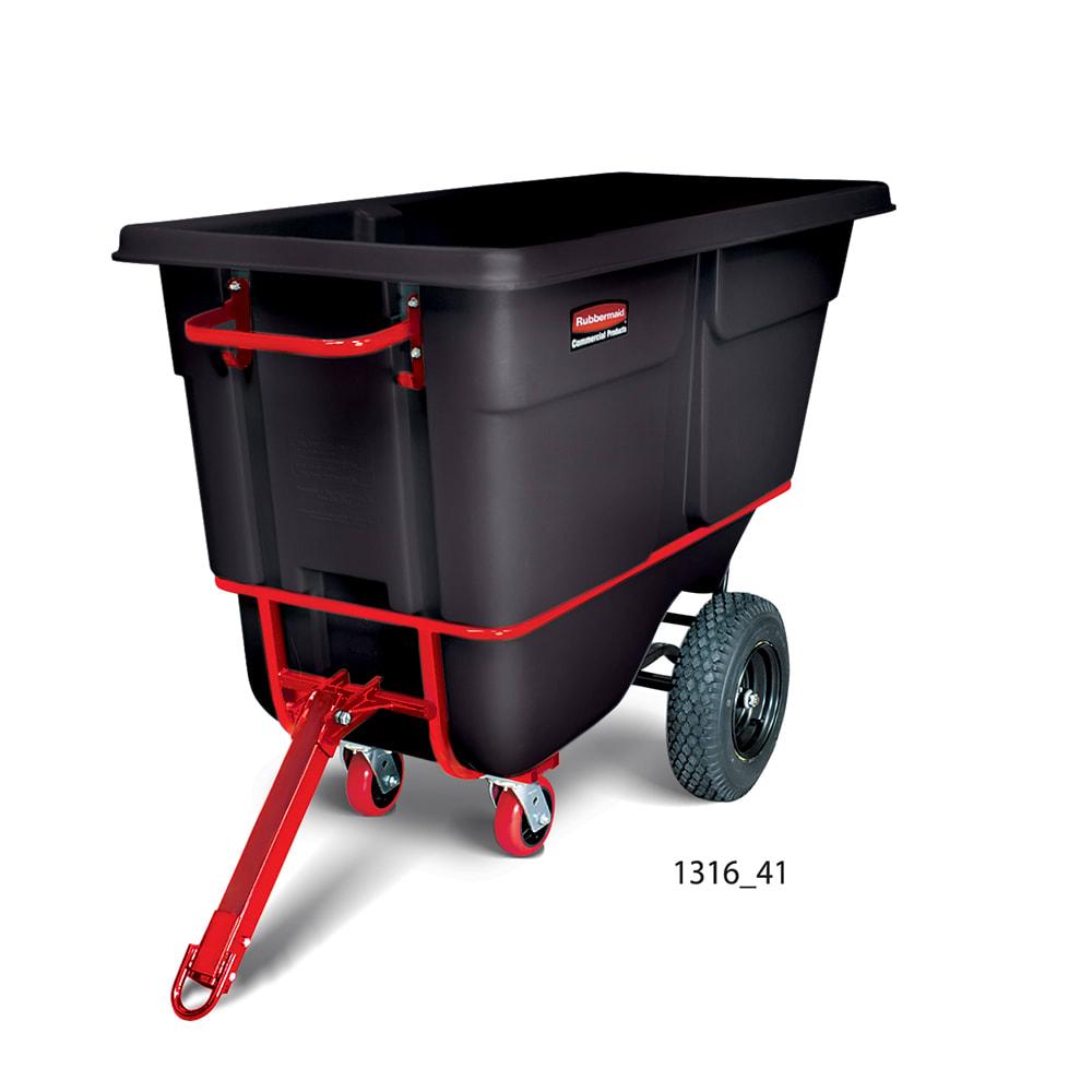 Rubbermaid FG131641BLA 1-cu yd Trash Cart w/ 1250-lb Capacity, Black