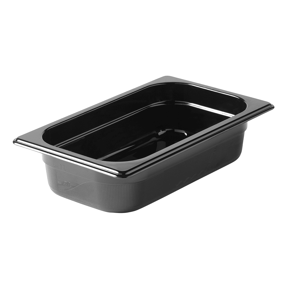 "Rubbermaid FG210P00BLA Hot Food Pan - 1/4 Size, 2 1/2"" Deep, Non-Stick, Black"