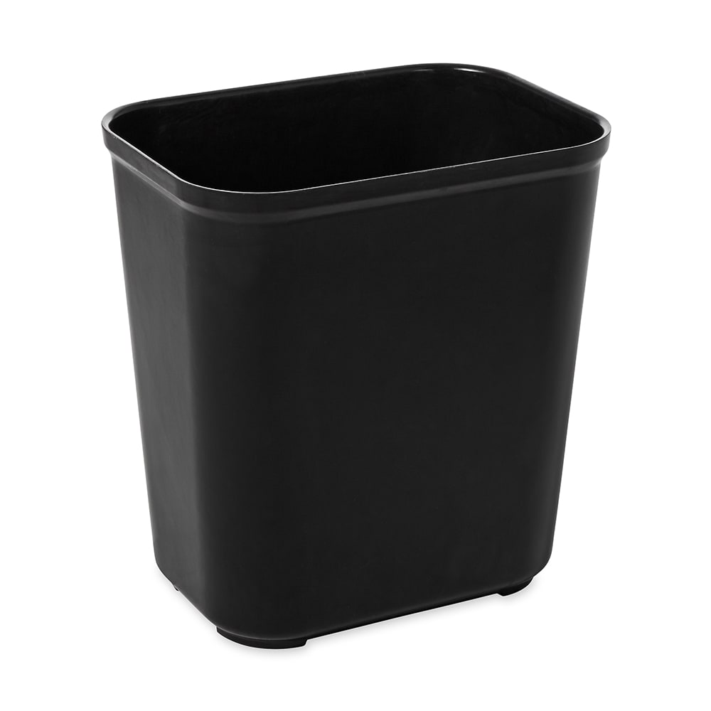 Rubbermaid FG254300BLA 28-qt Rectangle Waste Basket - Plastic, Black
