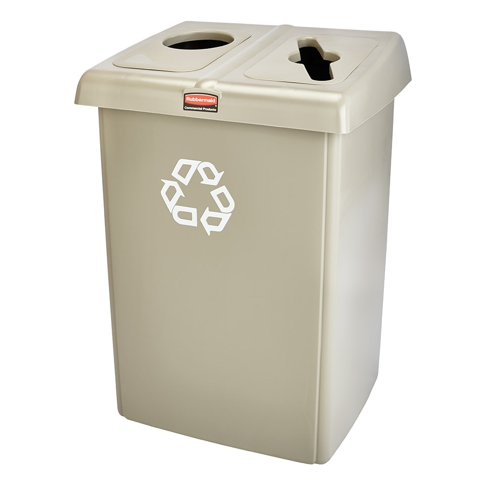 Rubbermaid 1792371 46-gal Multiple Material Recycle Bin - Indoor, Multiple Sections