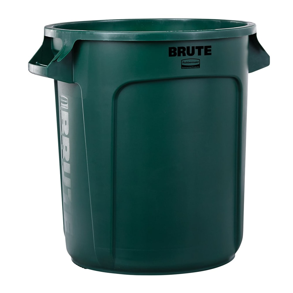 Rubbermaid FG261000DGRN 10-gallon Brute Trash Can - Plastic, Round, Food Rated