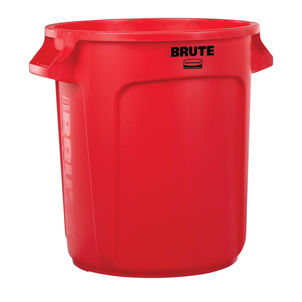 Rubbermaid FG261000RED 10 gallon Brute Trash Can - Plastic, Round, Food Rated