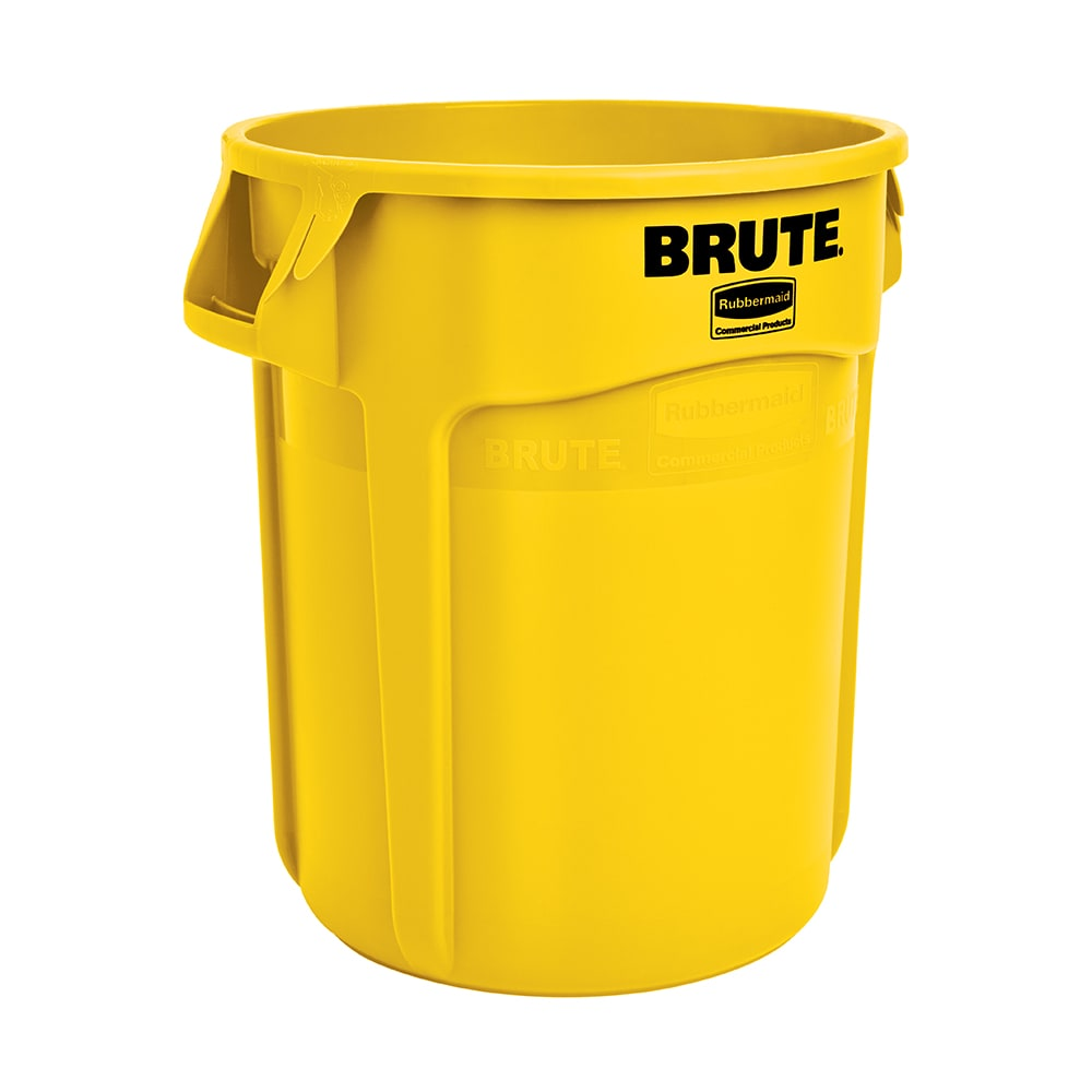 Rubbermaid FG261000YEL 10 gallon Brute Trash Can - Plastic, Round, Food Rated