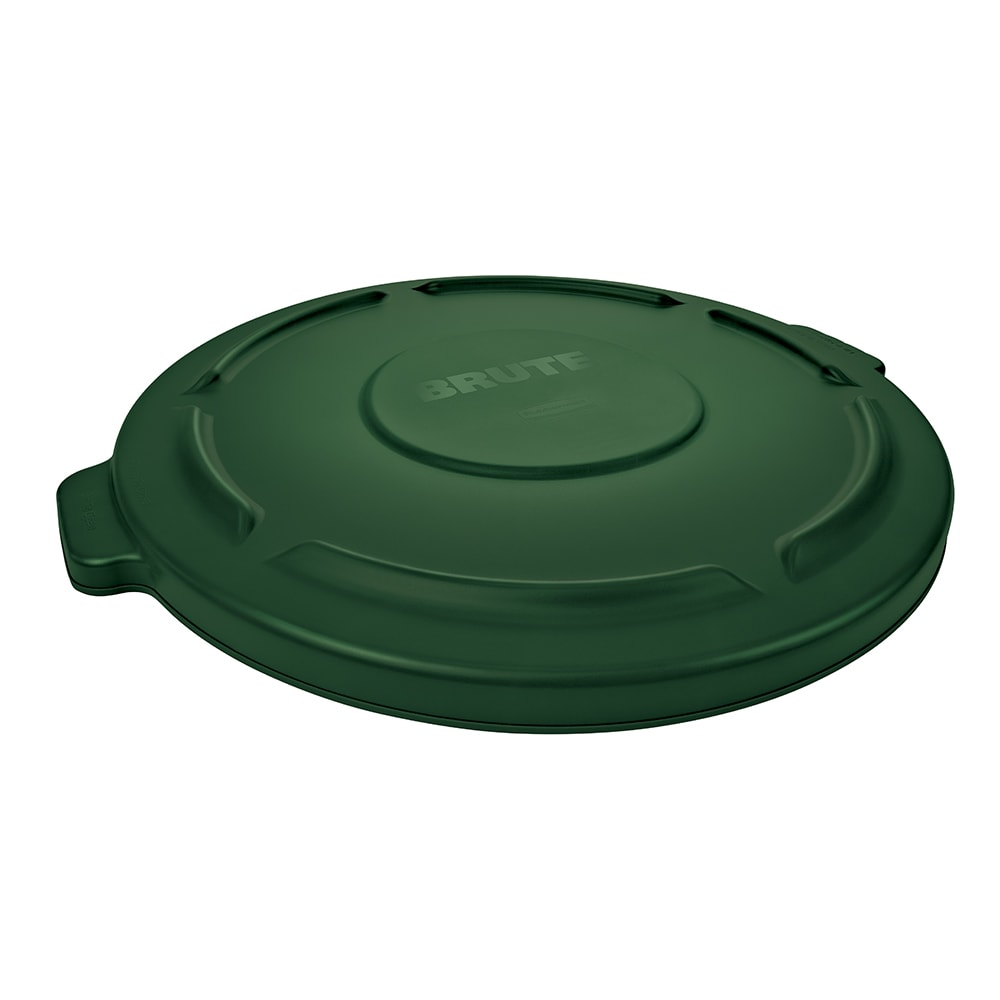 Rubbermaid FG261960DGRN Round Flat Top Trash Can Lid - Plastic, Green
