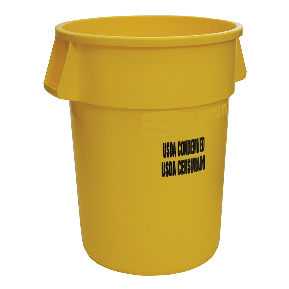 Rubbermaid FG264346YEL 44-gal Food Processing Container - USDA Condemned Imprint, Yellow