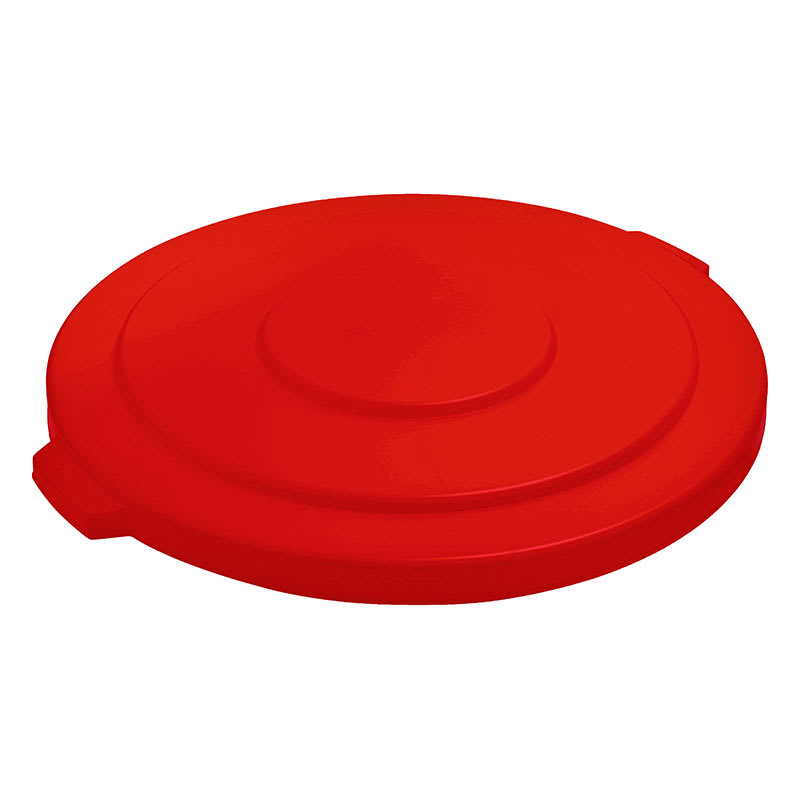 Rubbermaid FG265400RED Round Flat Top Trash Can Lid - Plastic, Red