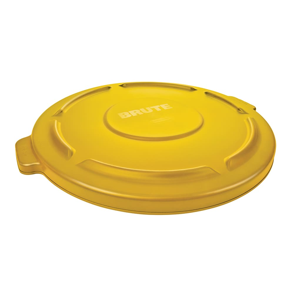 Rubbermaid FG265400YEL Round Flat Top Trash Can Lid - Plastic, Yellow