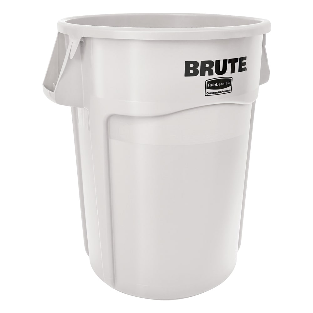 Rubbermaid FG265500WHT 55 gallon Brute Trash Can - Plastic, Round, Food Rated