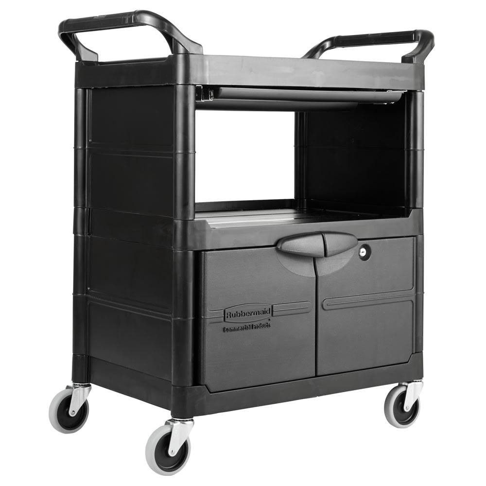 Rubbermaid FG345700BLA 3-Level Polymer Utility Cart w/ 200-lb Capacity, Raised Ledges