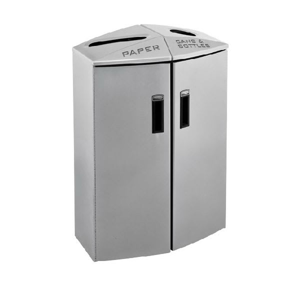Rubbermaid 3485988 24-gal Multiple Material Recycle Bin - Indoor, Multiple Sections & Decorative