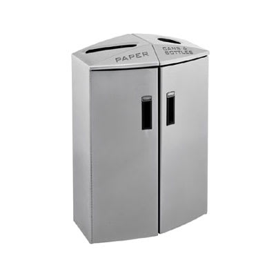 Rubbermaid 3485996 24-gal Multiple Material Recycle Bin - Indoor, Multiple Sections & Decorative