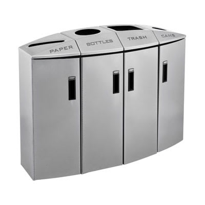 Rubbermaid 3486013 57-gal Multiple Material Recycle Bin - Indoor, Multiple Sections & Decorative