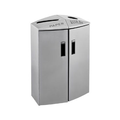 Rubbermaid 3486038 24-gal Multiple Material Recycle Bin - Indoor, Multiple Sections & Decorative