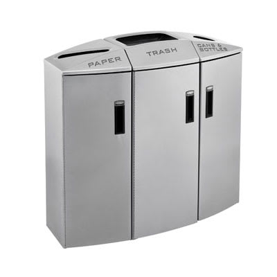 Rubbermaid 3486041 44-gal Multiple Material Recycle Bin - Indoor, Multiple Sections & Decorative
