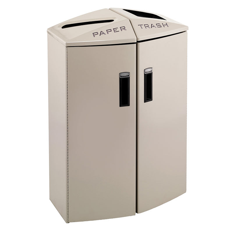 Rubbermaid 3486044 24-gal Multiple Material Recycle Bin - Indoor, Multiple Sections & Decorative