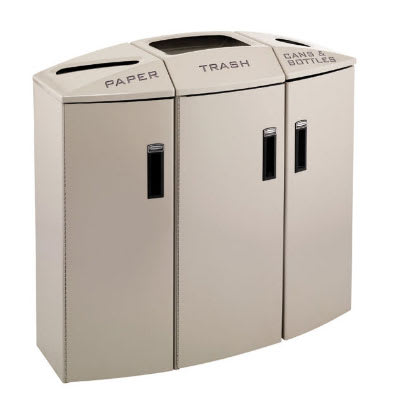 Rubbermaid 3486047 44-gal Multiple Material Recycle Bin - Indoor, Multiple Sections & Decorative