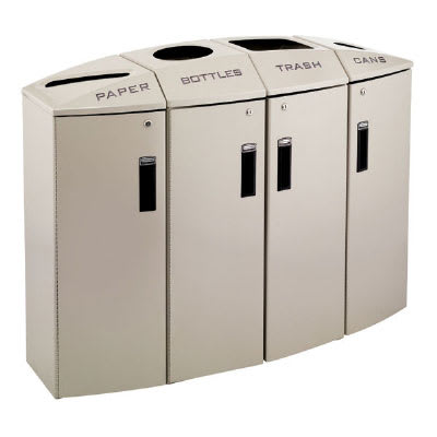 Rubbermaid 3486048 57-gal Multiple Material Recycle Bin - Indoor, Multiple Sections & Decorative