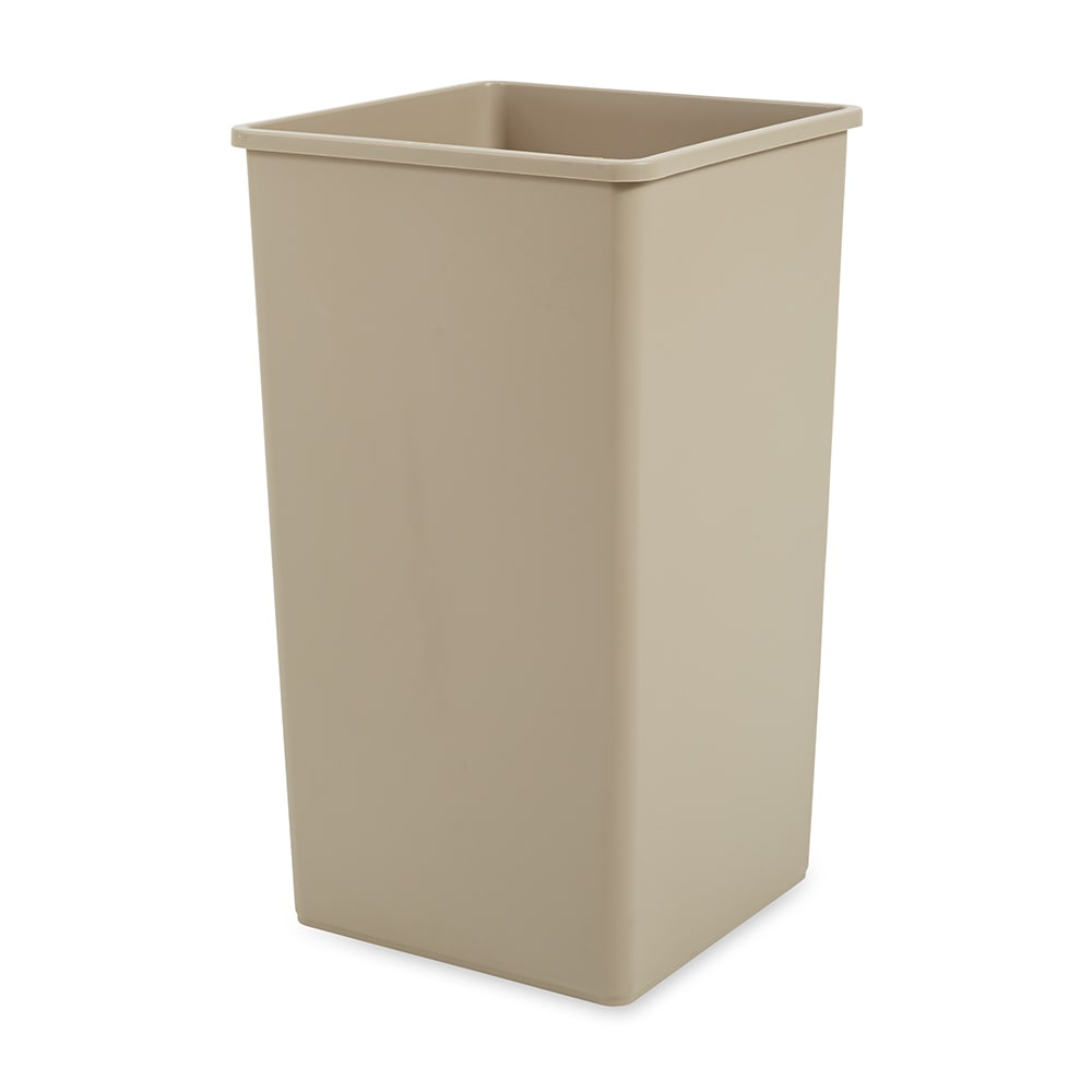 Rubbermaid FG395900BEIG 50 gallon Commercial Trash Can - Plastic, Square, Food Rated