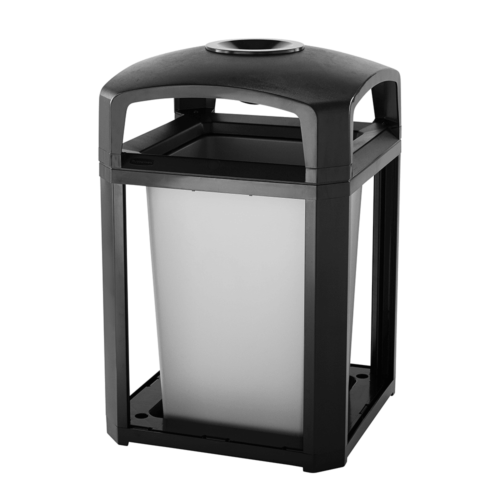 "Rubbermaid FG397001 BLA 35-gal Landmark Series Container - 26x26x40"" Dome Top Frame, Ashtray, Black"