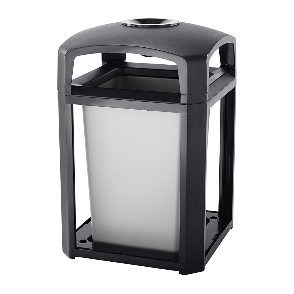 """Rubbermaid FG397001 SBLE 35-gal Landmark Series Container - 26x26x40"""" Dome Top Frame, Ashtray, Sable"""