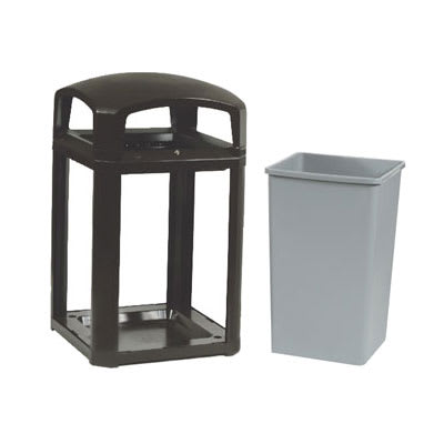 "Rubbermaid FG397088 BLA 35 gal Landmark Series Container - 26x26x40"" Dome Top, Lock Option, Black"