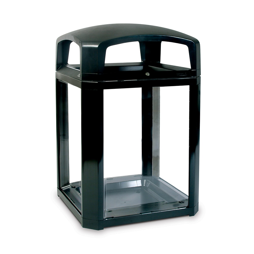"Rubbermaid FG397500 BLA 50 gal Landmark Series Container - 26x26x46 1/2"" Dome Top Frame, Black"