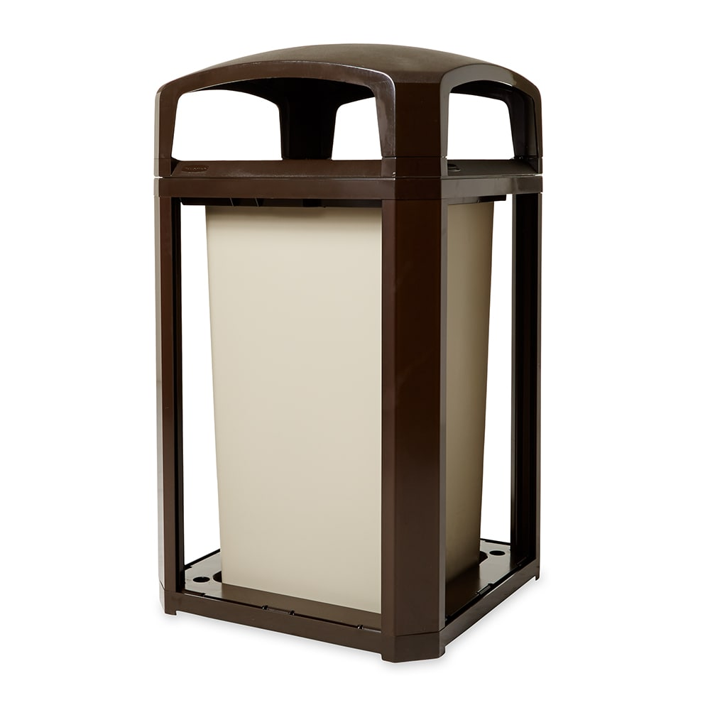 """Rubbermaid FG397500 SBLE 50 gal Landmark Series Container - 26x26x46 1/2"""" Dome Top Frame, Sable"""