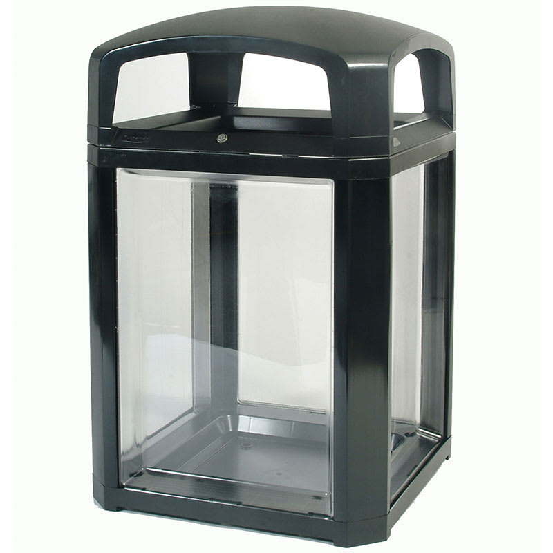 "Rubbermaid FG397589 BLA 50-gal Security Container - 26x26x46-1/2"" Dome Top Frame, Lock, Clear/Black"