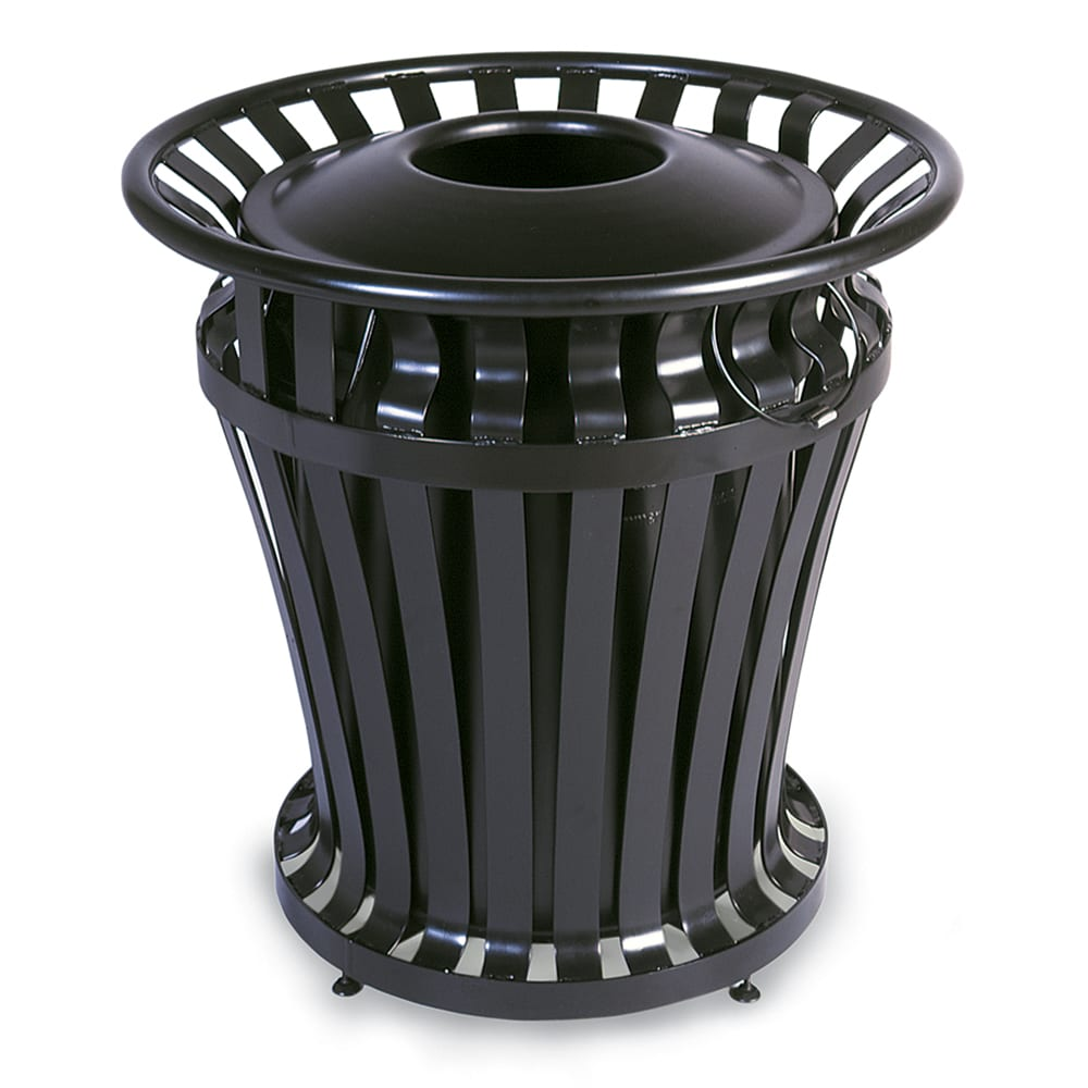 Rubbermaid FG402000 BLA 20-gal Outdoor Decorative Trash Can - Metal, Black