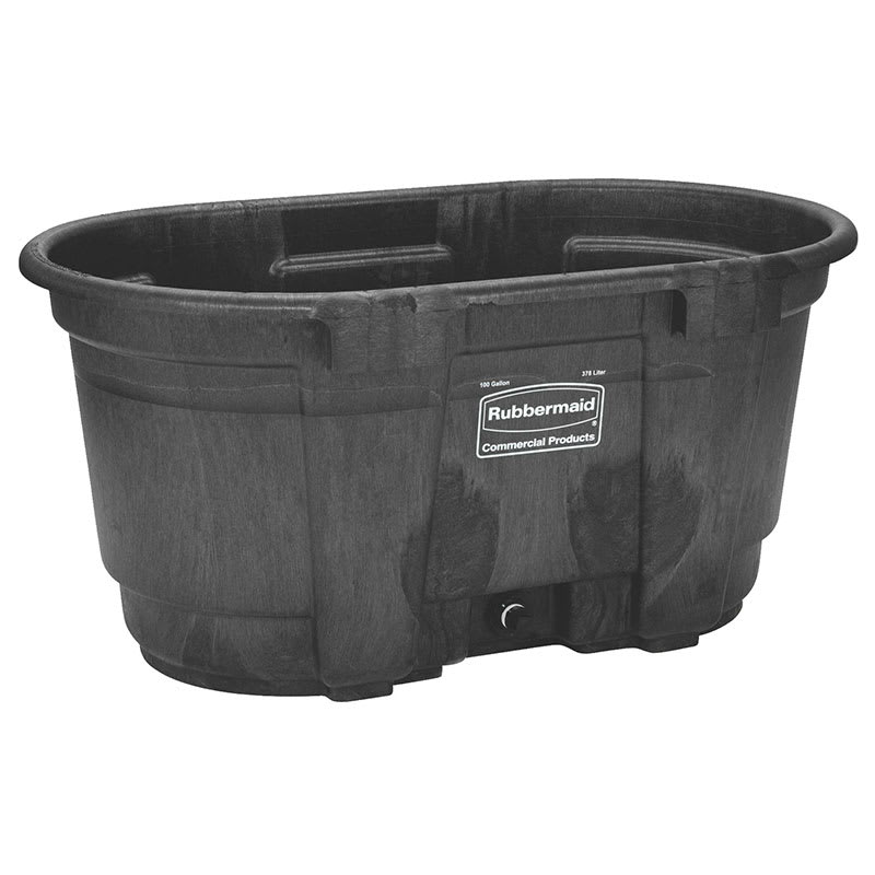 Rubbermaid FG424288 BLA 100 gal Stock Tank - Structural Foam, Black