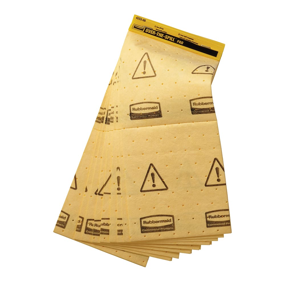 """Rubbermaid FG425500 YEL Over-the-Spill Station Pads - 16 1/2x7"""" Yellow"""