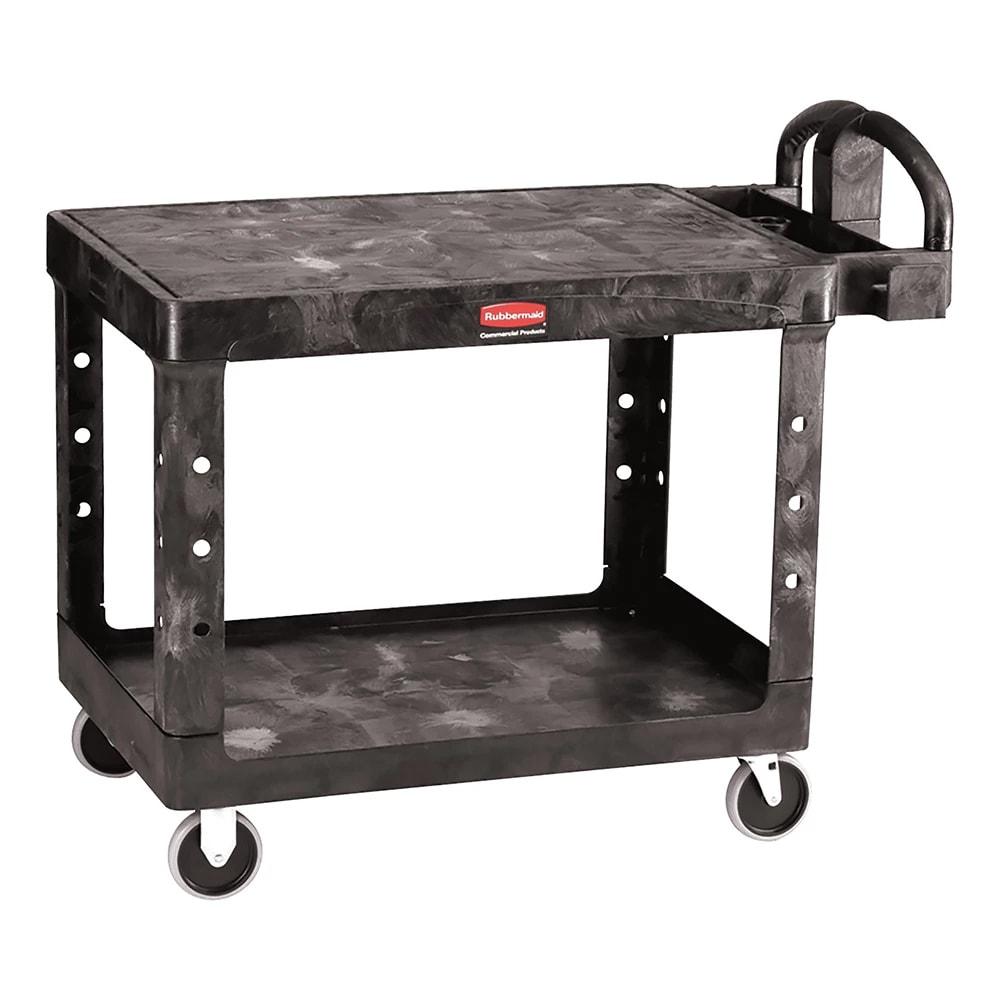 Rubbermaid FG452500 BLA 2-Level Polymer Utility Cart w/ 500-lb Capacity, Flat Ledges