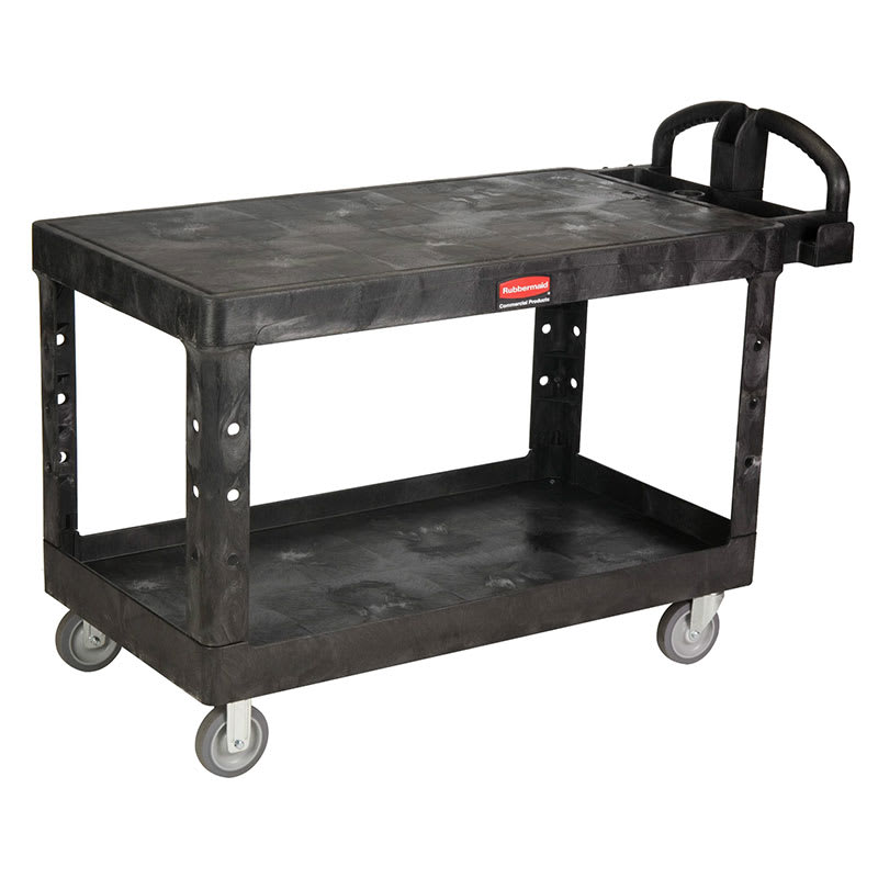 Rubbermaid FG454500BLA 2 Level Polymer Utility Cart w/ 750 lb Capacity, Flat Ledges