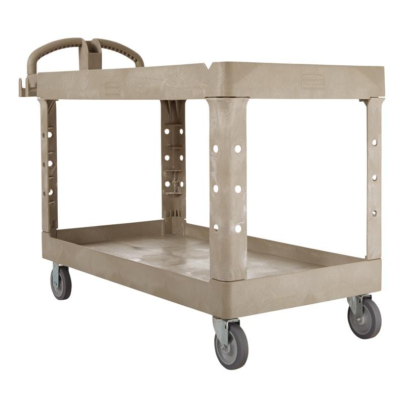 Rubbermaid FG454600BEIG 2 Level Polymer Utility Cart w/ 750 lb Capacity, Raised Ledges