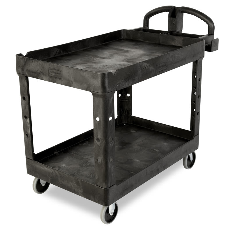 Rubbermaid FG454600 BLA 2-Level Polymer Utility Cart w/ 750-lb Capacity, Raised Ledges