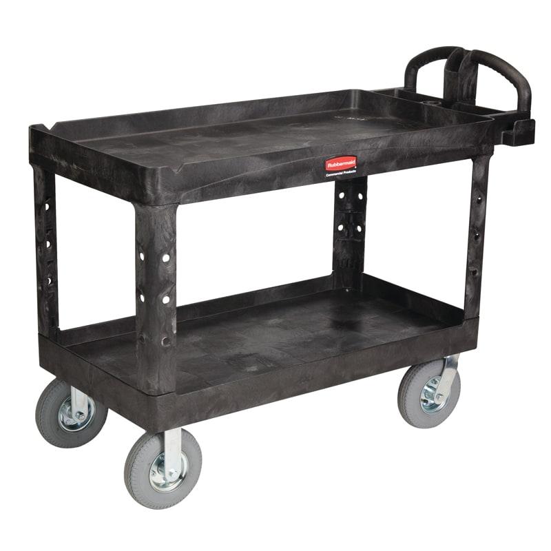 Rubbermaid FG454610 BLA 2 Level Polymer Utility Cart w/ 750 lb Capacity, Raised Ledges