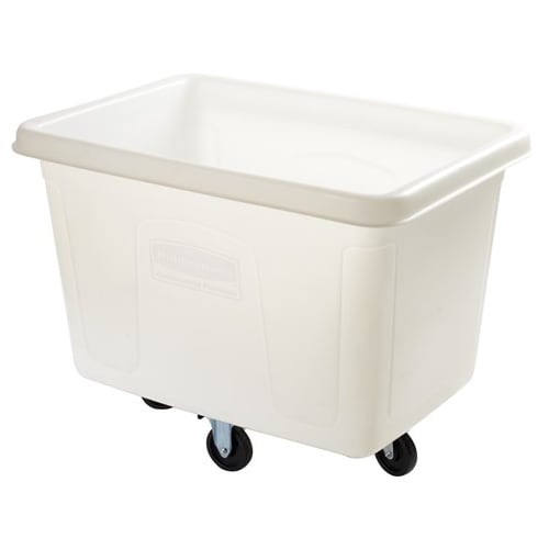 Rubbermaid FG460800 WHT .3 cu yd Trash Cart w/ 300 lb Capacity, White