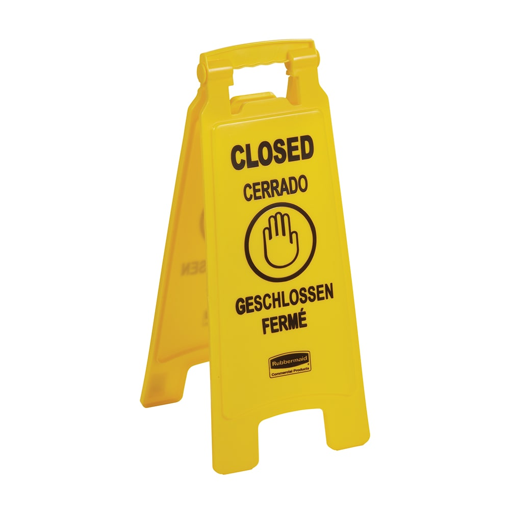 Rubbermaid FG611278 YEL Multi-Lingual Floor Closed Sign - 2 Sided, Yellow