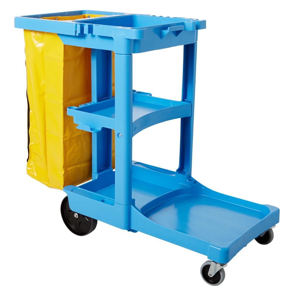 "Rubbermaid FG617388 BLUE Housekeeping Cart w/ 3-Shelves, 46""L x 21.75""W x 38.375""H, Blue"