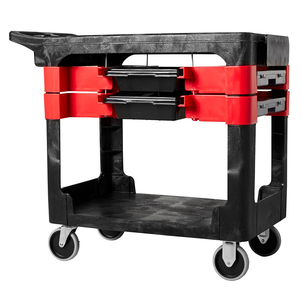 Rubbermaid FG618000 BLA 2 Level Polymer Utility Cart w/ 330 lb Capacity, Flat Ledges