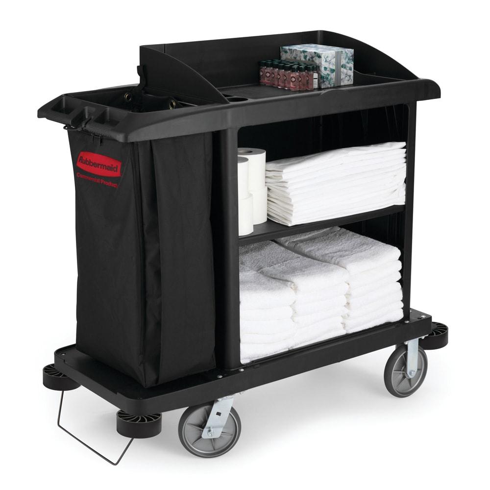 "Rubbermaid FG619000 BLA Compact Housekeeping Cart w/ Vacuum Holder, 49""L x 22""W x 50""H, Black"
