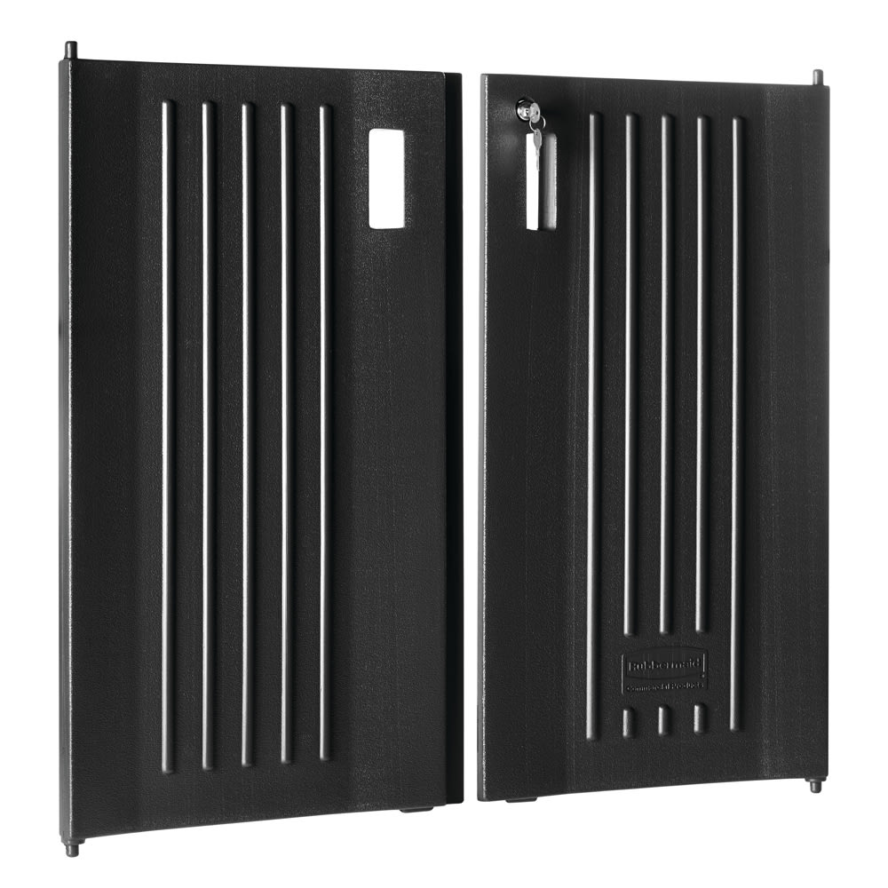 Rubbermaid FG619700 BLA Locking Door Kit, Black