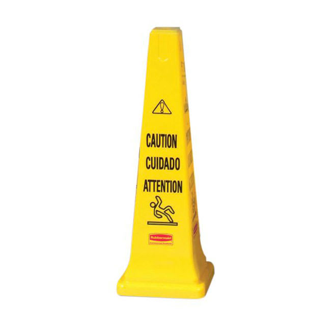 "Rubbermaid FG627600 YEL Multi-Lingual Safety Cone - Caution, 12 1/4x12 1/4x36"" Yellow"