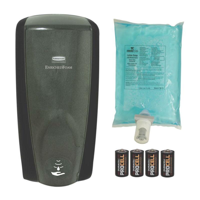 Rubbermaid FG750334 1100 ml Touch Free Wall Mount AutoFoam Soap Dispenser Kit, Black/Black