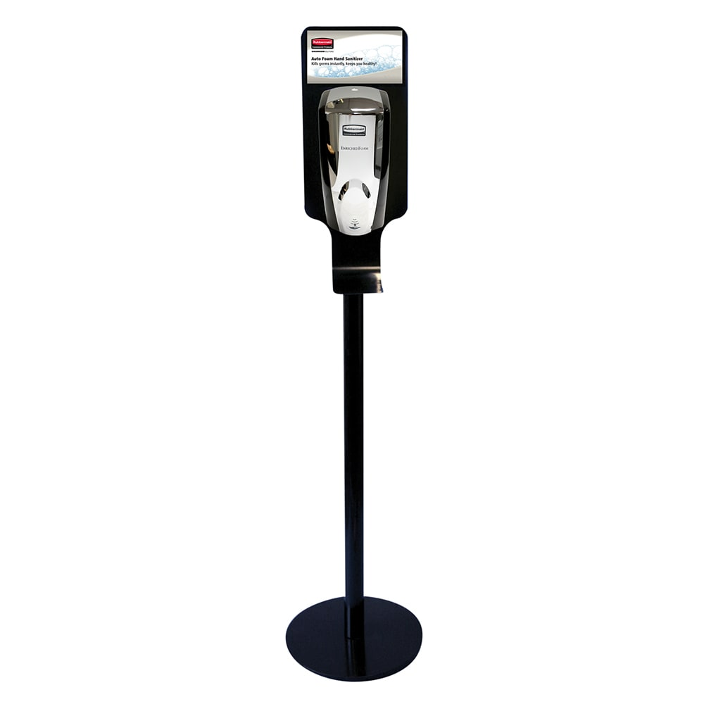 Rubbermaid FG750824 Hand Sanitizing Station - Metal Stand, Black