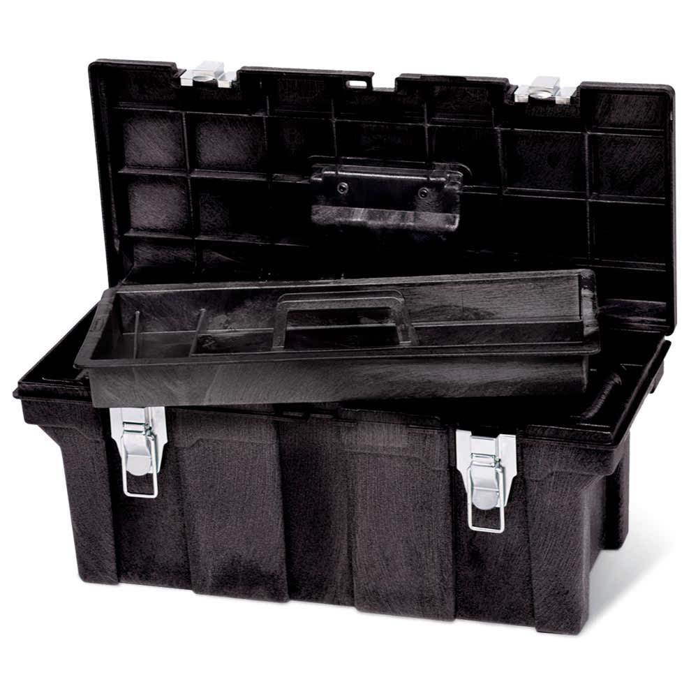 Rubbermaid FG780200 BLA Plastic Tool Box w/ Removable Trays, Black